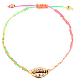 With love Anklet kauri gold braided neon rainbow