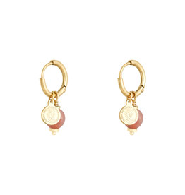 With love Earrings disco ball pink