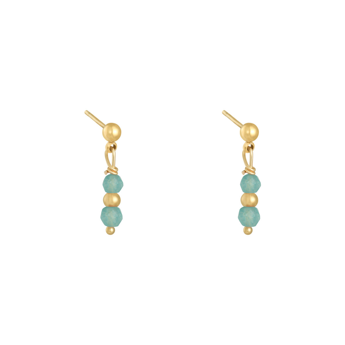 With love Earrings in a row - aqua