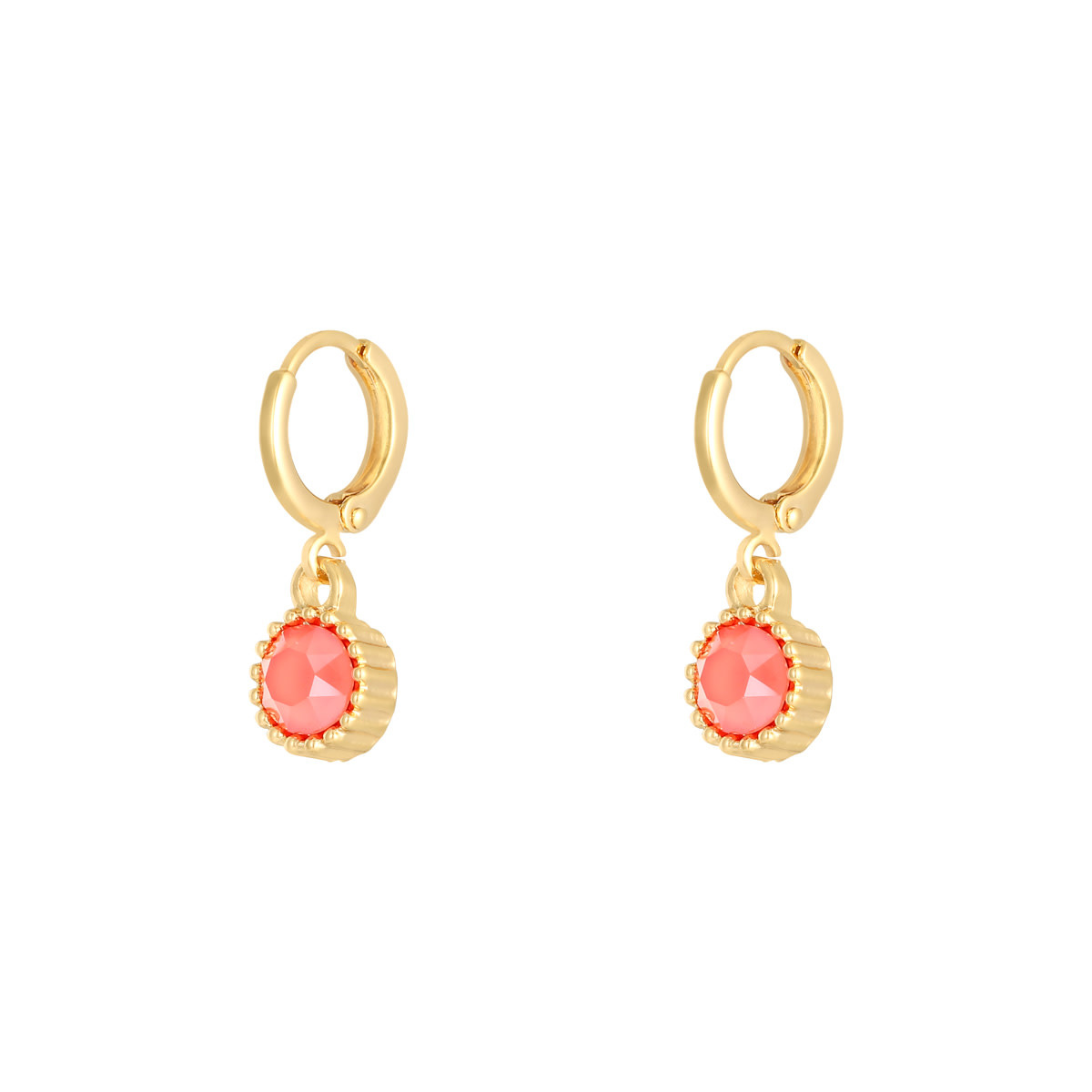 With love Earrings precious cut - dark pink