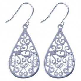 Treasure Earrings silver drop filligrain