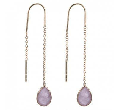 Treasure Silver earrings GP rosequartz