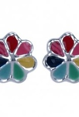 Treasure Silver stud earrings rainbow flower