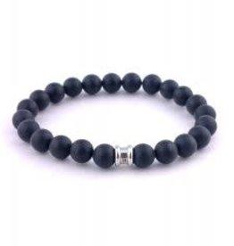Steel & Barnett Stones bracelet basic - Matt Black - Size L