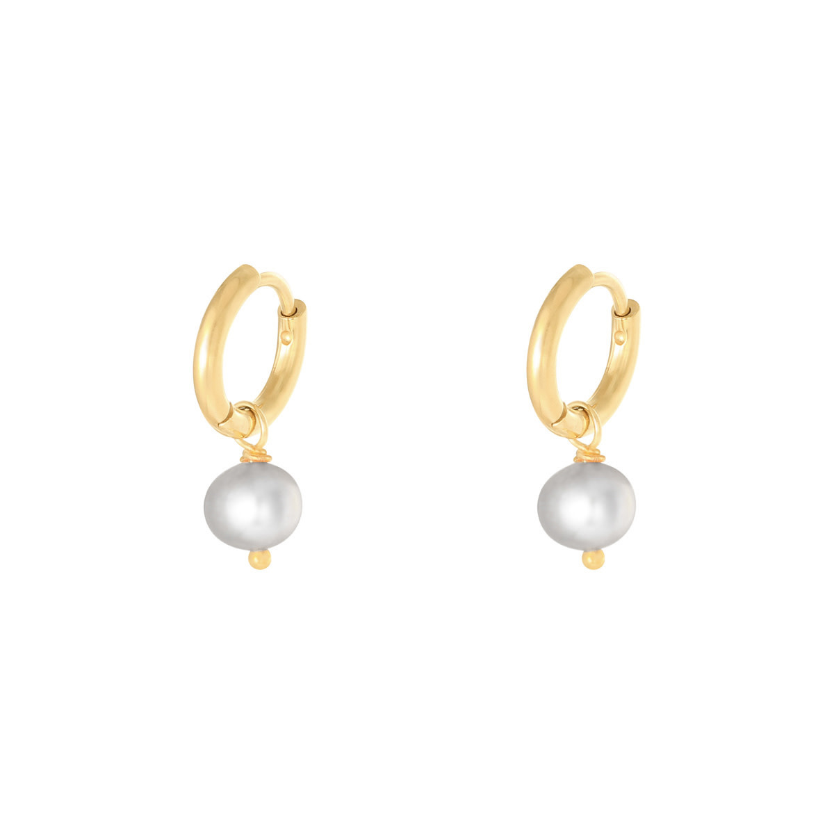 With love Earrings pearl of the sea - light grey