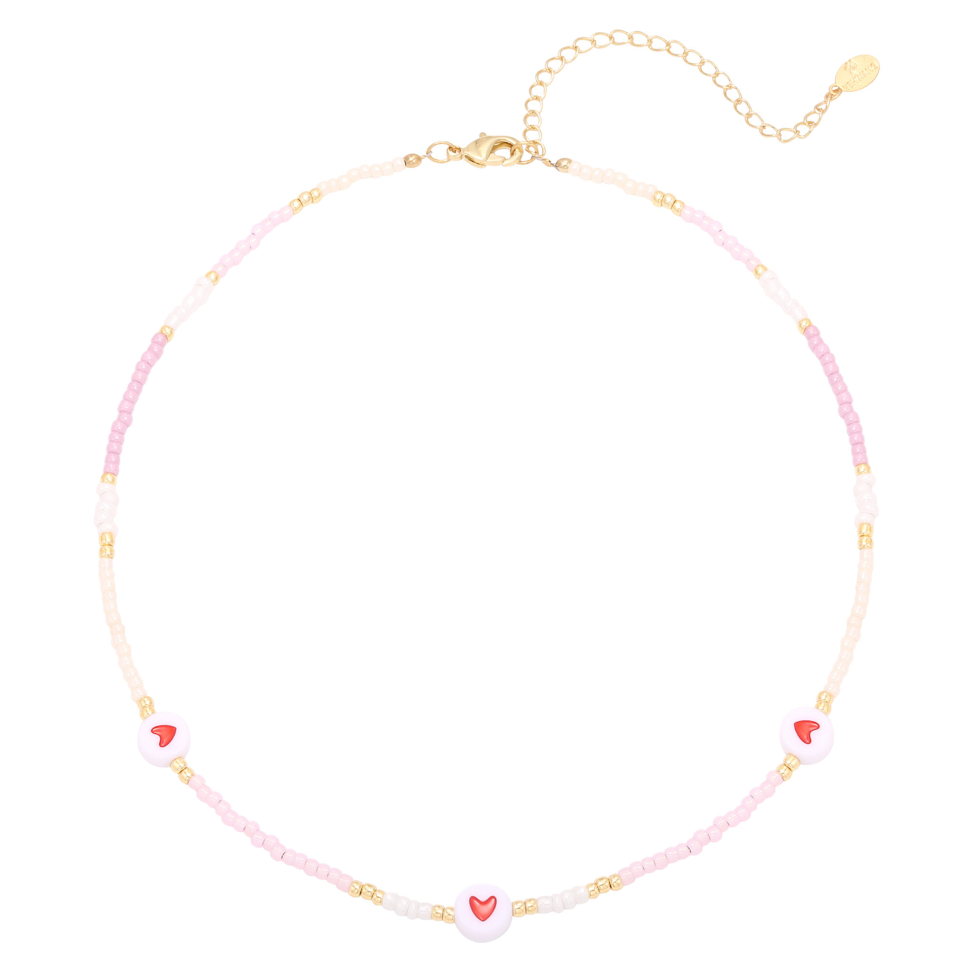 With love Necklace heart colors - pink