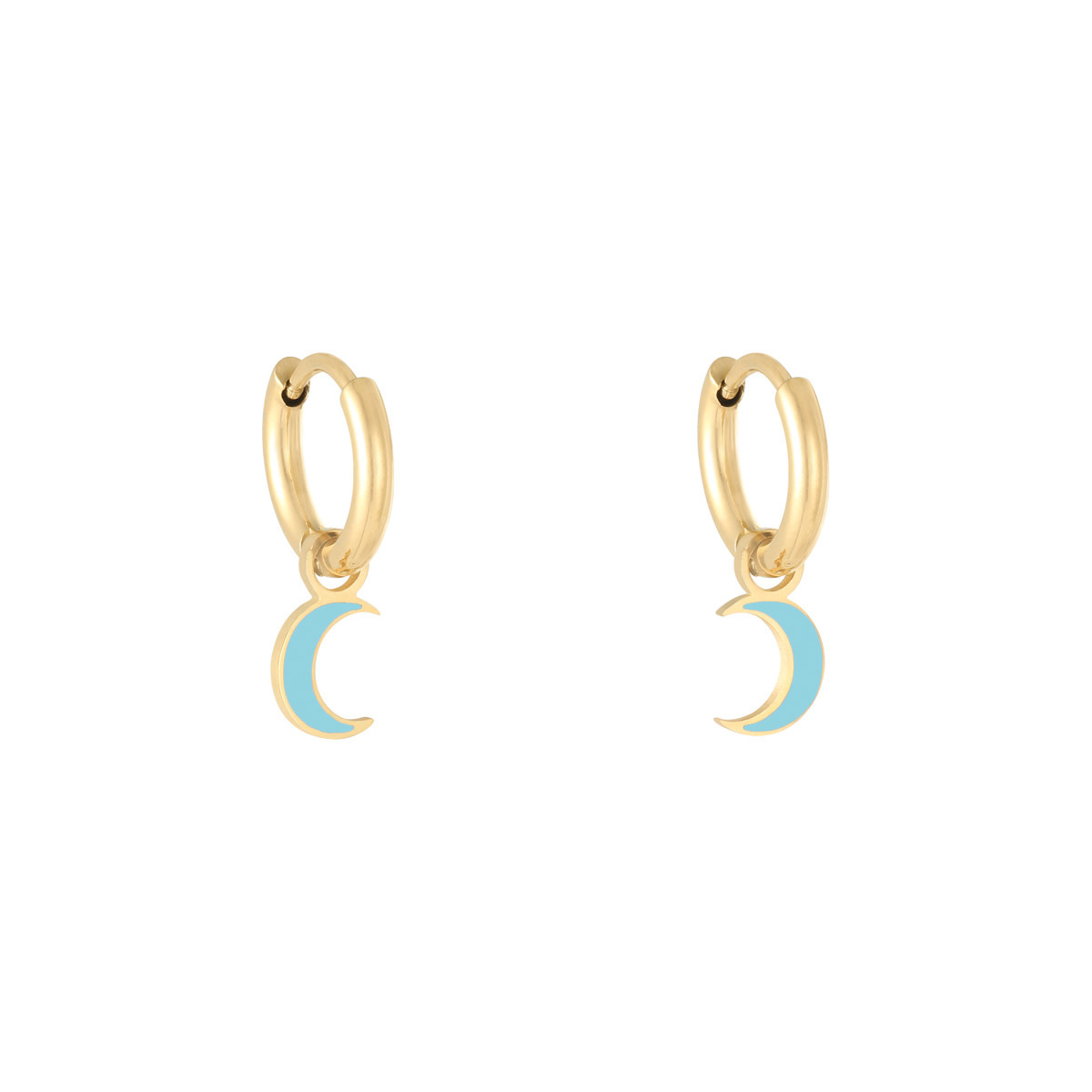 With love Earrings Pastel Moon Blue