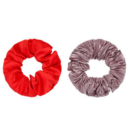 With love Set of 2 scrunchies purple/red