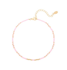 With love Anklet mystic beads - pink