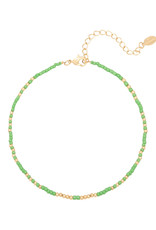 With love Anklet mystic beads - green