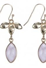 Treasure Silver earrings GP leaves rosequartz