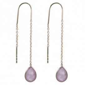 Treasure Silver thread earrings GP rosequartz