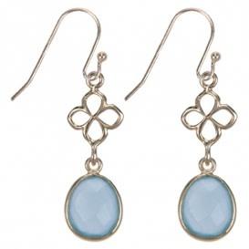 Treasure Silver earrings GP leaves aqua chalcedone