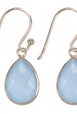 Treasure Silver earrings drop GP 9 x 13 mm aqua