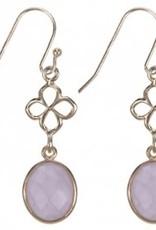 Treasure Silver earrings GP leaves aqua rosequartz