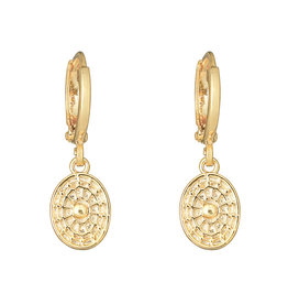 With love Earrings oval coin gold