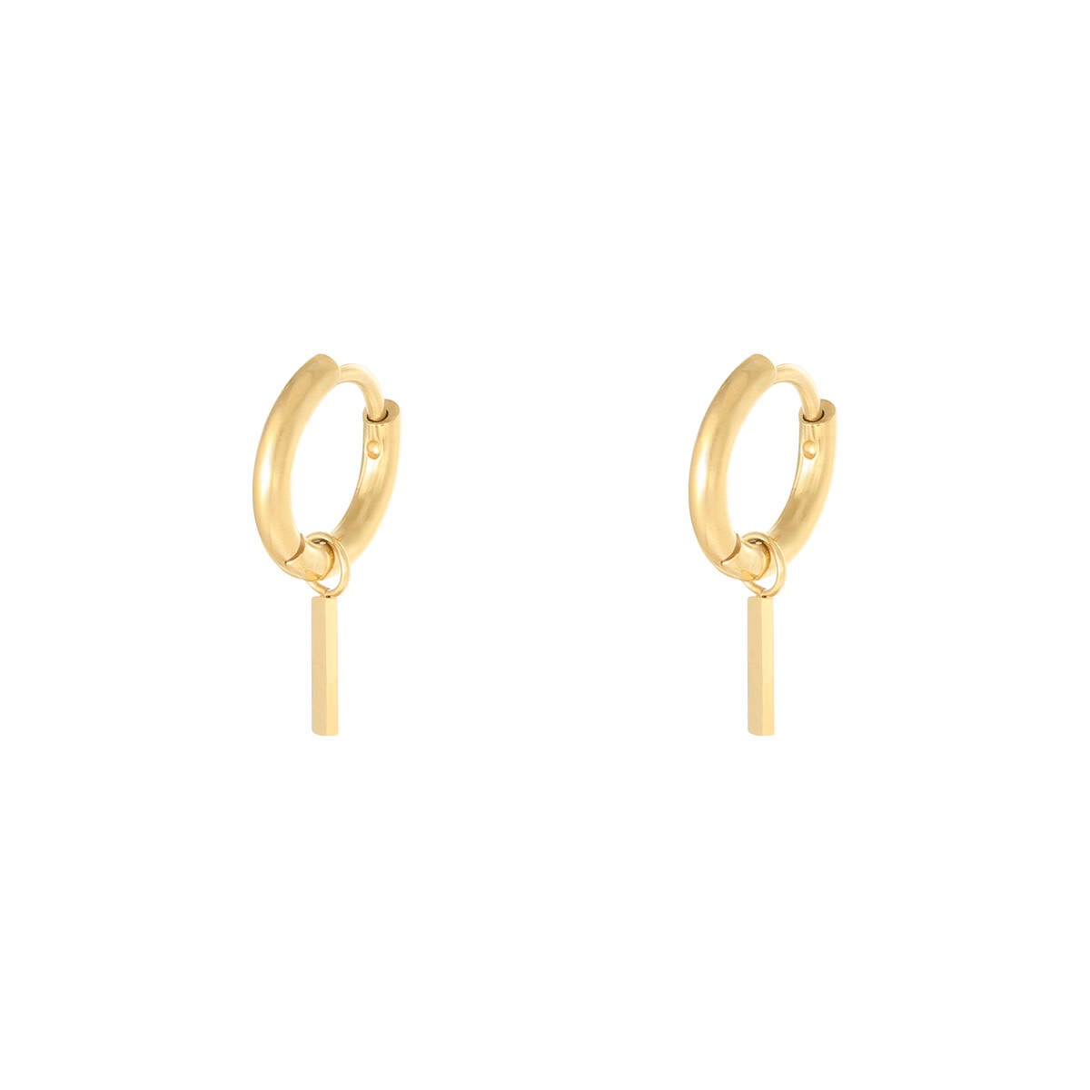 With love Earrings hanging bar - gold