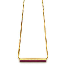 Nadja Carlotti Gold plated necklace Stella - Bordeaux