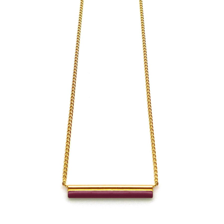Nadja Carlotti Gold plated necklace Stella - Bordeaux
