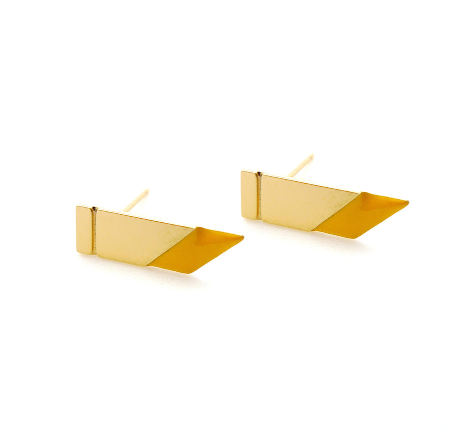 Nadja Carlotti Gold plated earrings Flash - Mustard