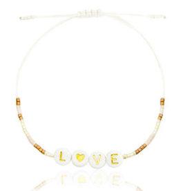 With love Bracelet miyuki pearls beige-pink-gold 'LOVE'