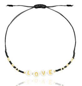 With love Bracelet miyuki pearls black-gold 'LOVE'