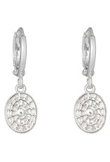 With love Earrings oval coin silver