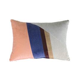 HK Living Velvet patch cushion multicolor 50x35cm