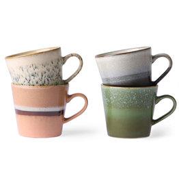 HK Living Ceramic 70's cappuccino mugs - set of 4 12x9,5x8,5cm