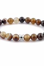 Steel & Barnett Stones bracelet basic - Chocolate - Size M