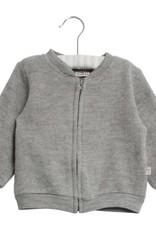 Wheat Felted wool cardigan - grey melange