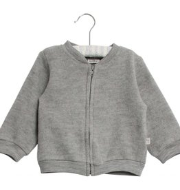 Wheat Felted wool cardigan - grey melange