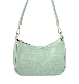 With love Handbag croco - Mint green 20 x 14 cm