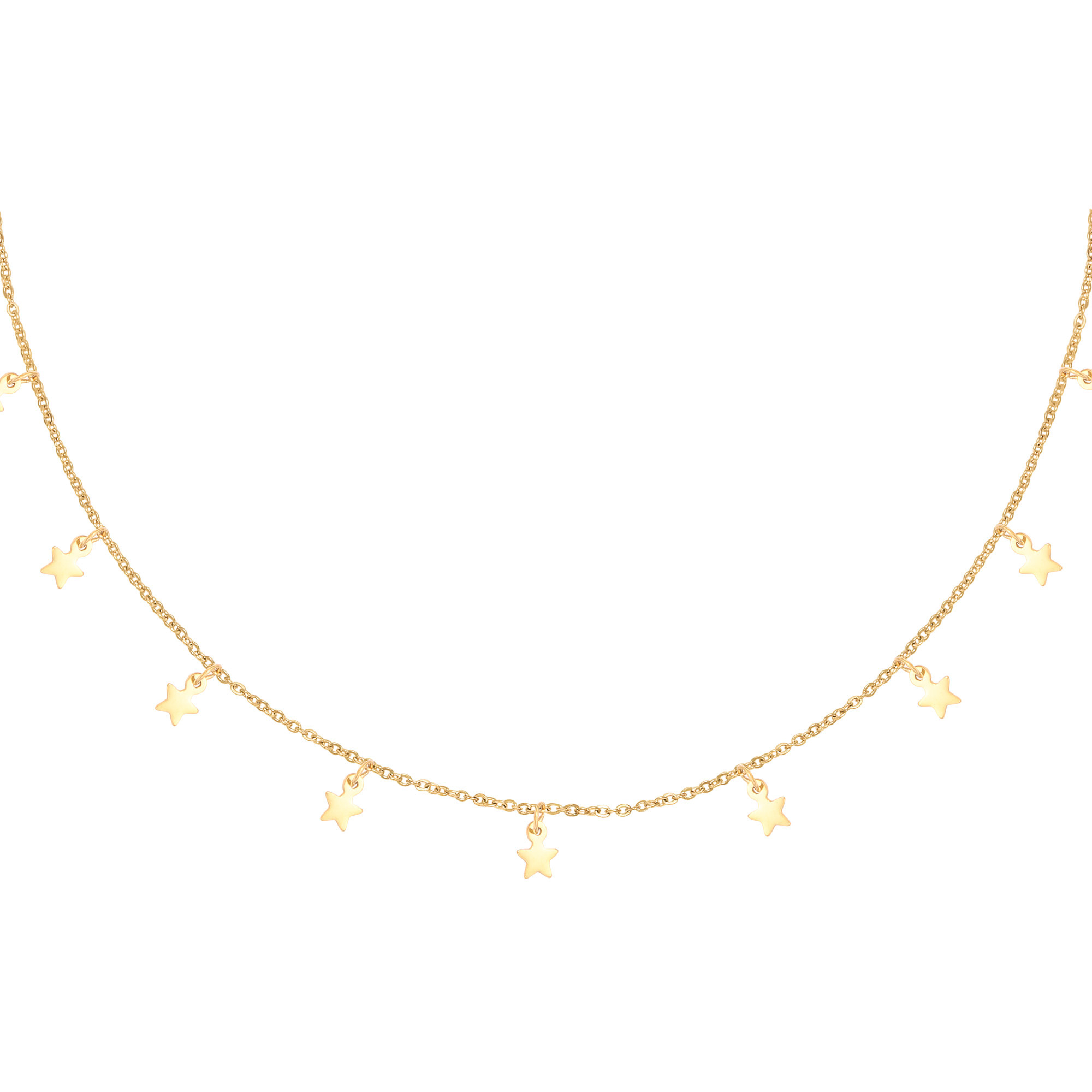 With love Necklace floating stars gold