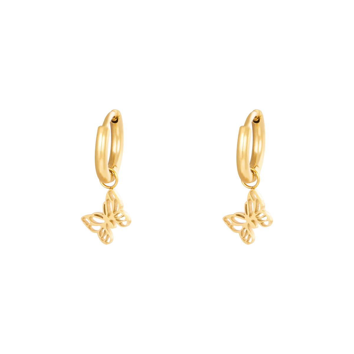 With love Earrings floating butterfly - gold