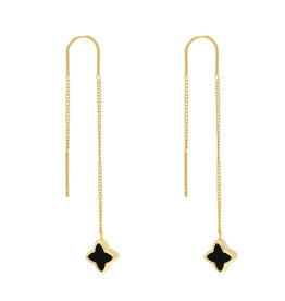 With love Earrings dangle - clover black