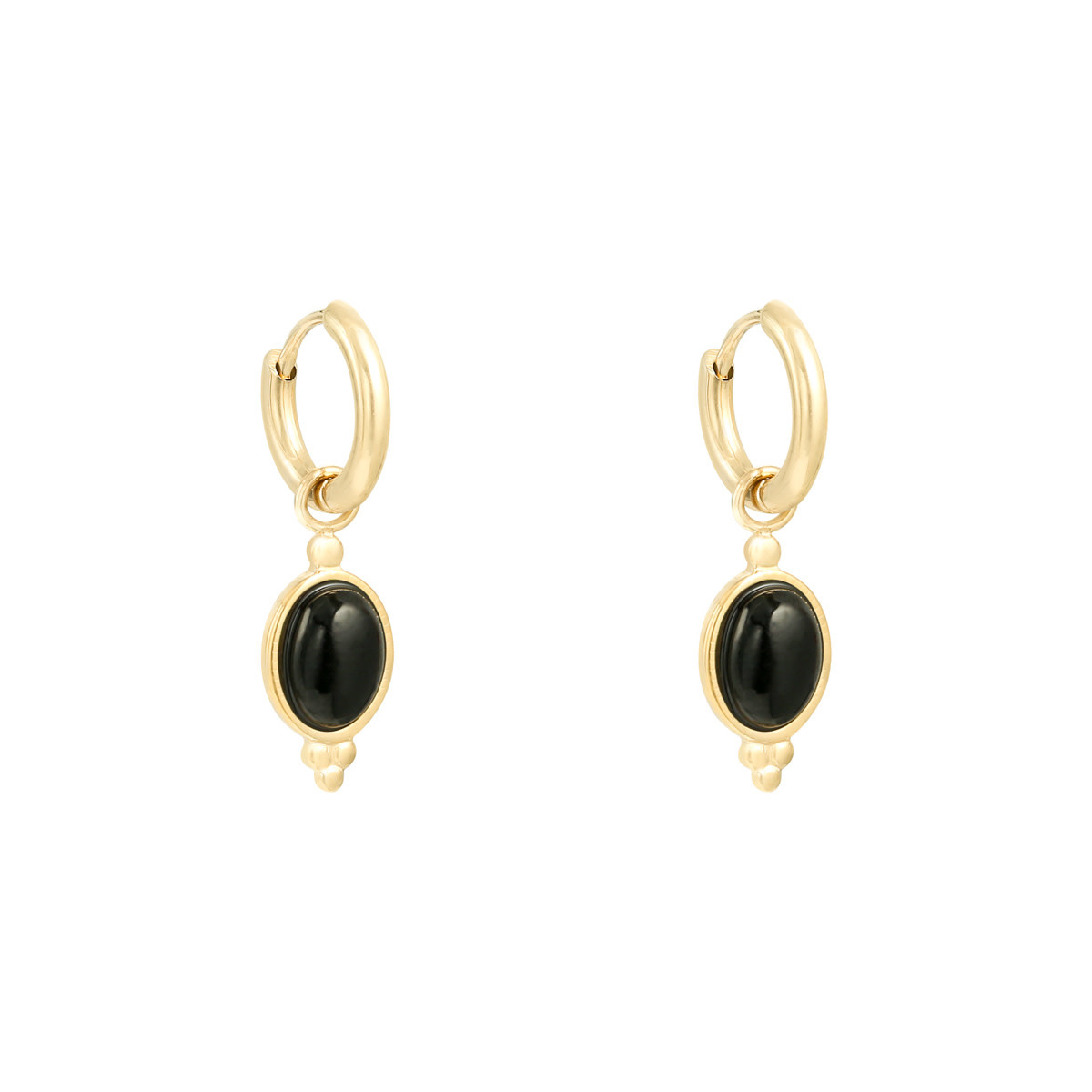 With love Earrings mystic stone - black