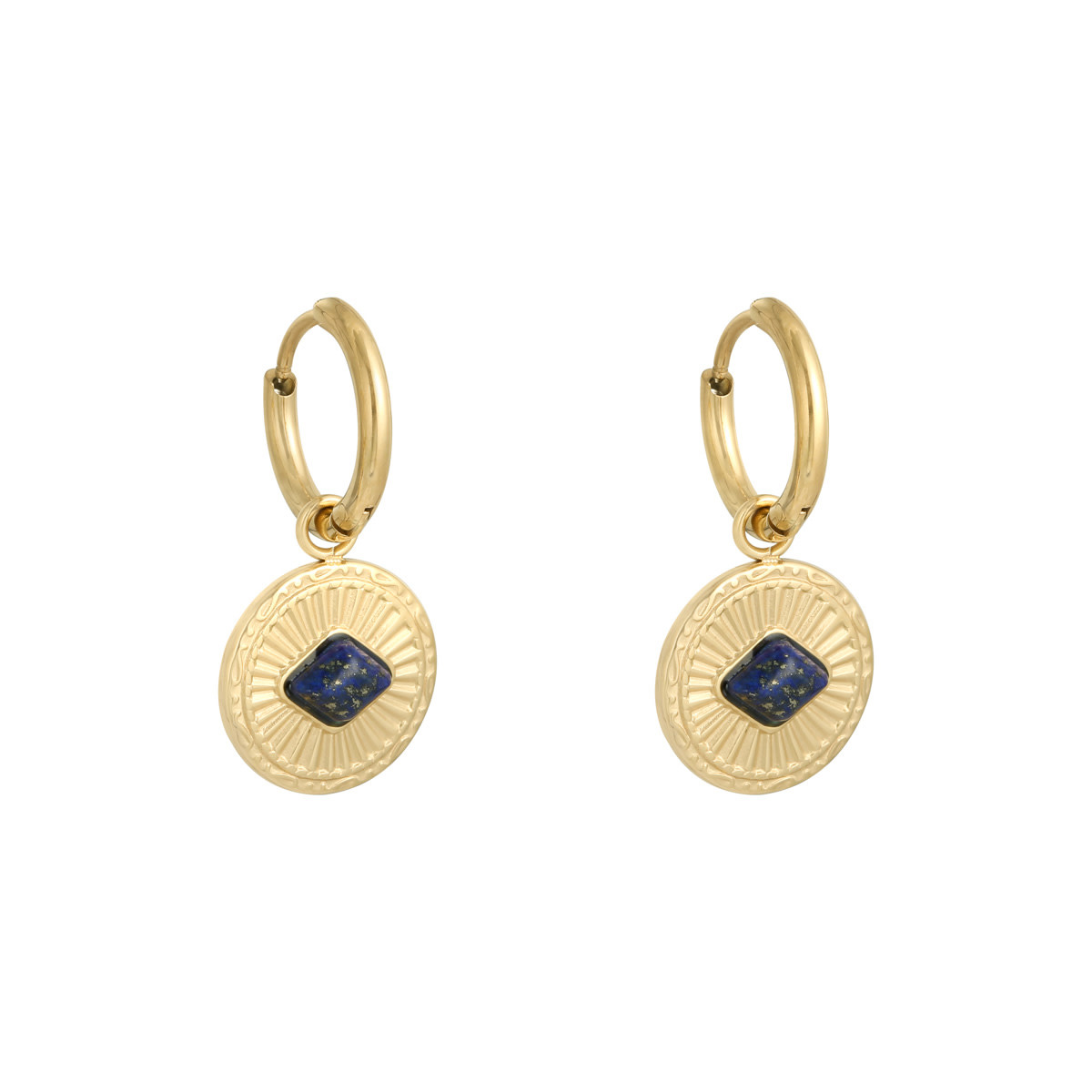 With love Earrings Proud to wear gold - navy