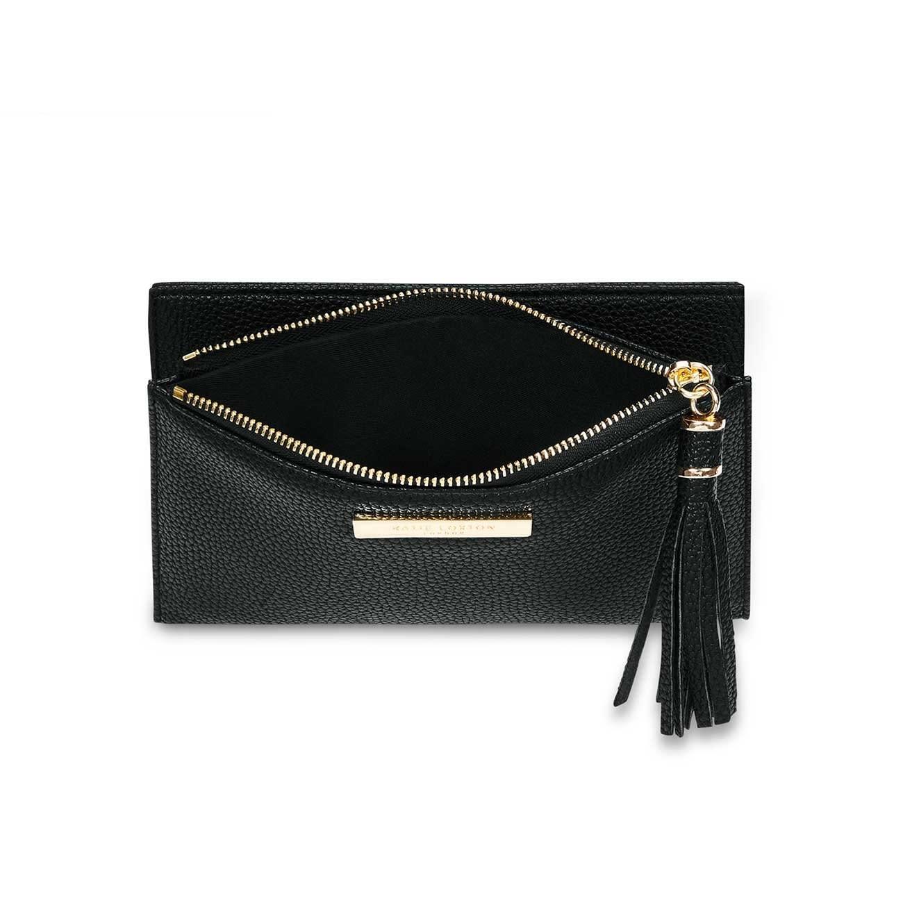 Katie Loxton Sophia tassel fold out purse black - 11 x 19 cm