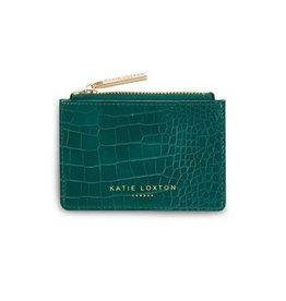 Katie Loxton Céline faux croc card holder - Forest green 8.5 x 12.5 cm