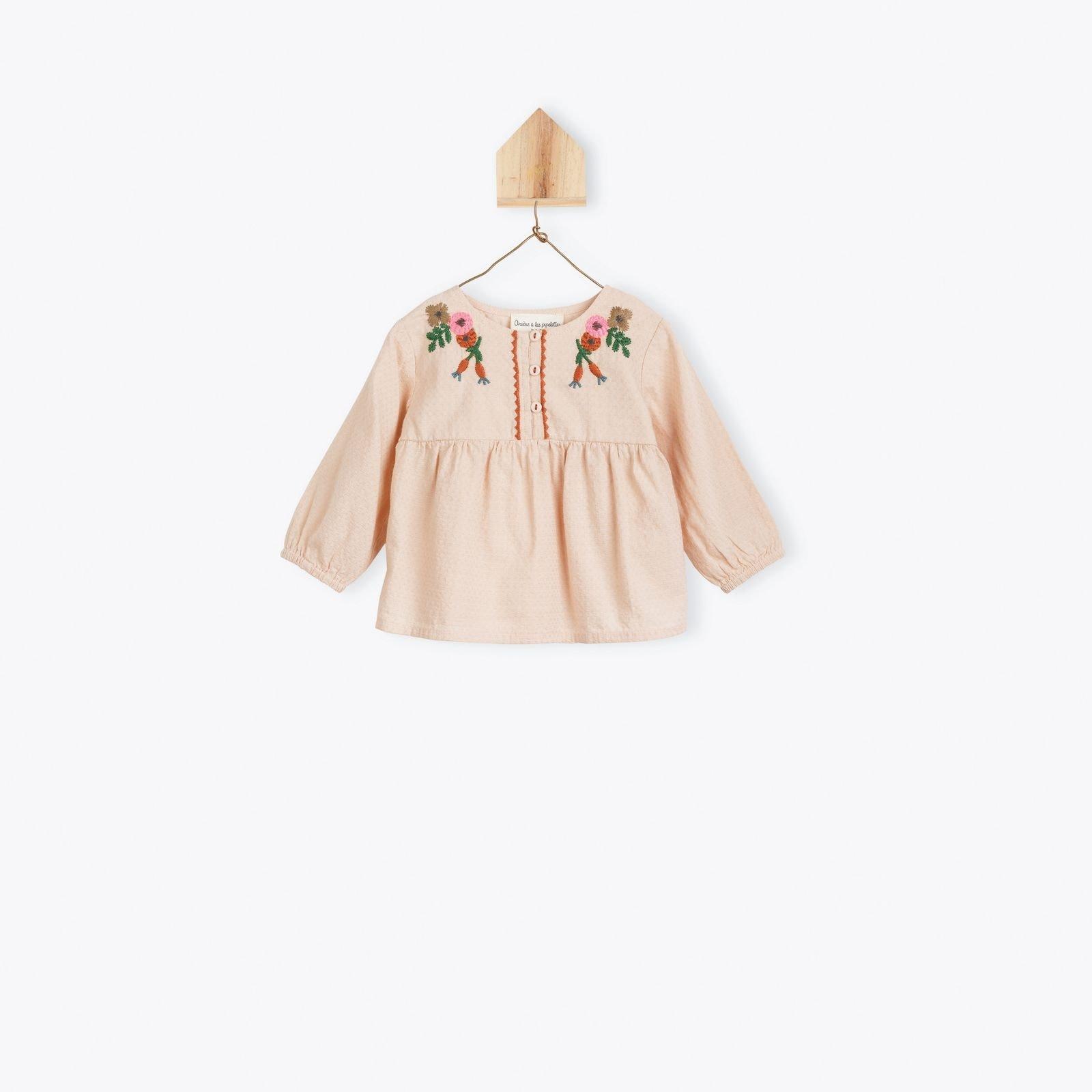 Arsène et les Pipelettes Powder embroedered baby blouse