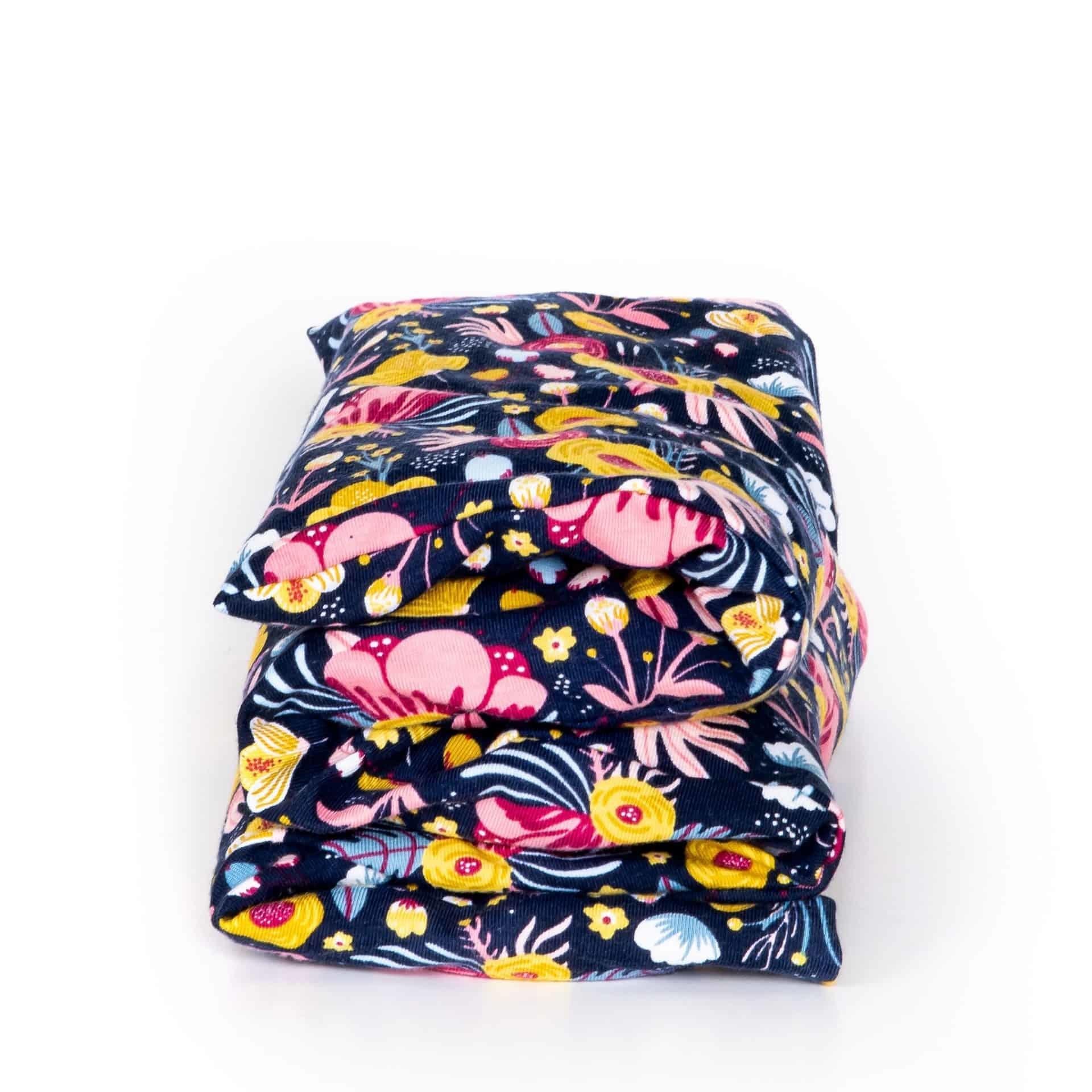 Janneke's warmtesjaal Janneke's Warmtesjaal 70 x 20 cm - lijnzaad  bloem donkerblauw