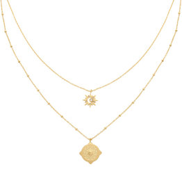With love Necklace compass star - gold