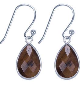 Treasure Silver earrings drop 9 x 13 mm tiger eye