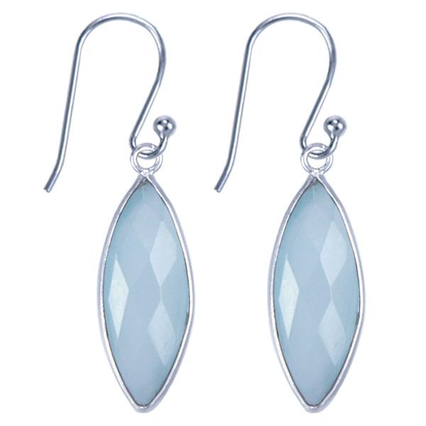 Treasure Silver earrings - marquis aqua chalcedone