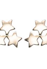 Treasure Silver stud earrings GP 3 stars 6 x 6 mm