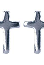 Treasure Silver stud earrings cross 4 x 6 mm
