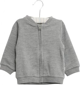 Wheat Wool sweat cardigan - melange grey