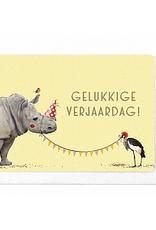 Enfant Terrible Enfant Terrible card  + enveloppe 'Gelukkige verjaardag!' neushoorn