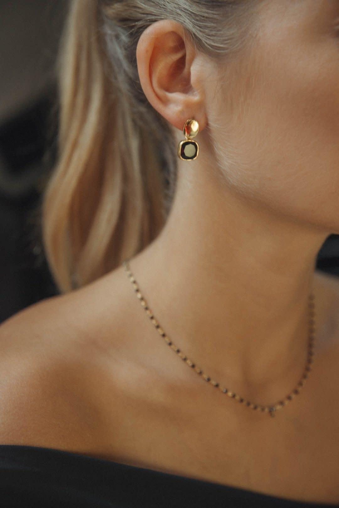 Détail Detail earrings Lidia Onyx GP (7733)